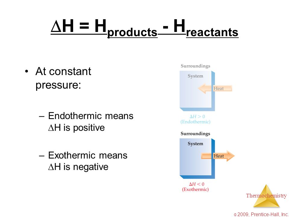 H = Hproducts - Hreactants
