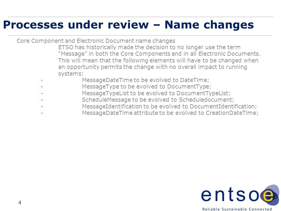 Processes under review – Name changes
