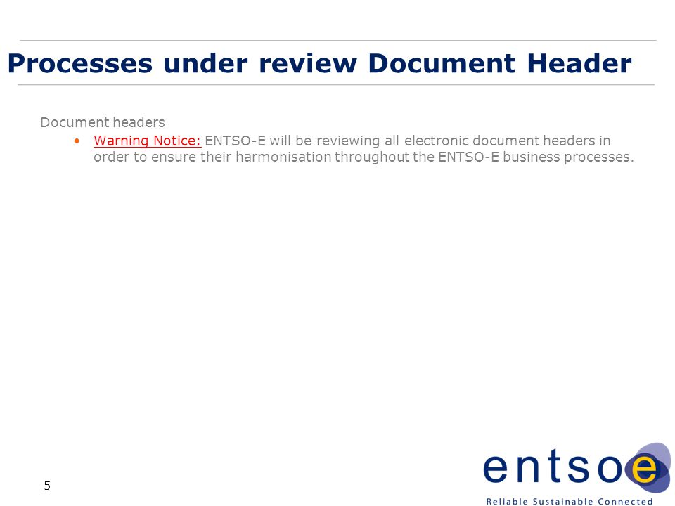 Processes under review Document Header