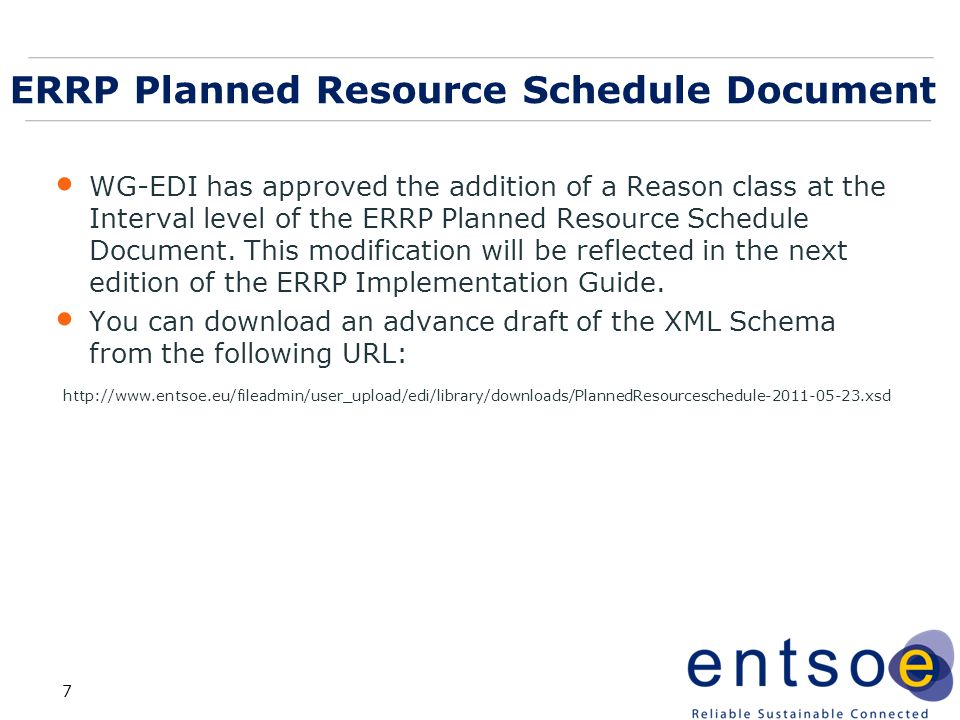 ERRP Planned Resource Schedule Document