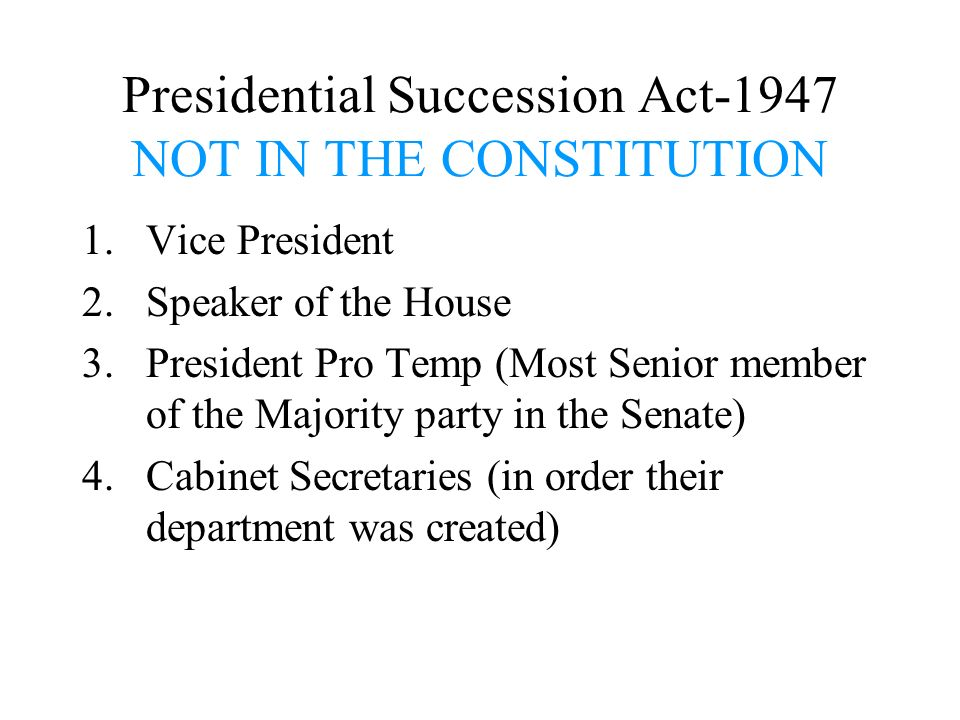 Presidential Succession Act-1947 NOT IN THE CONSTITUTION