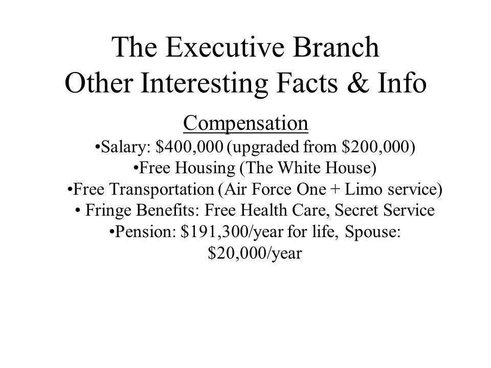 The Executive Branch Other Interesting Facts & Info