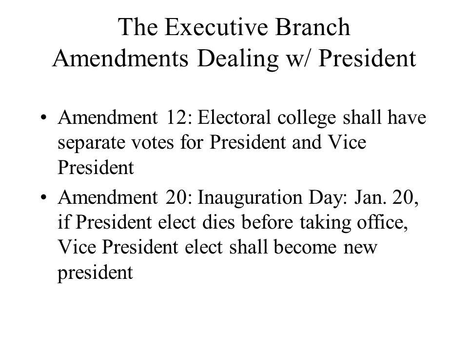 The Executive Branch Amendments Dealing w/ President