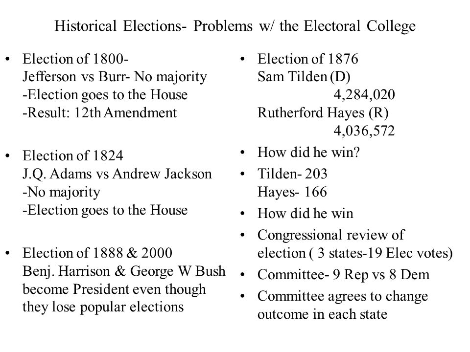 Historical Elections- Problems w/ the Electoral College