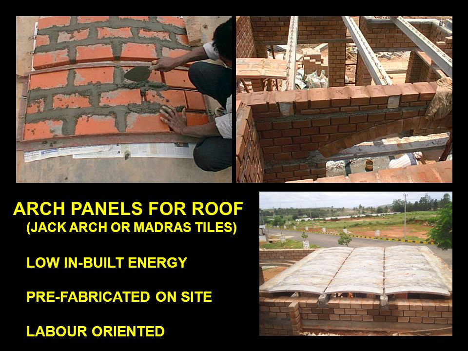 ARCH PANELS FOR ROOF (JACK ARCH OR MADRAS TILES) LOW IN-BUILT ENERGY PRE-FABRICATED ON SITE LABOUR ORIENTED