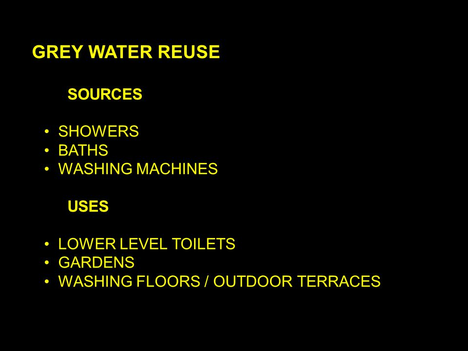 GREY WATER REUSE SOURCES SHOWERS BATHS WASHING MACHINES USES