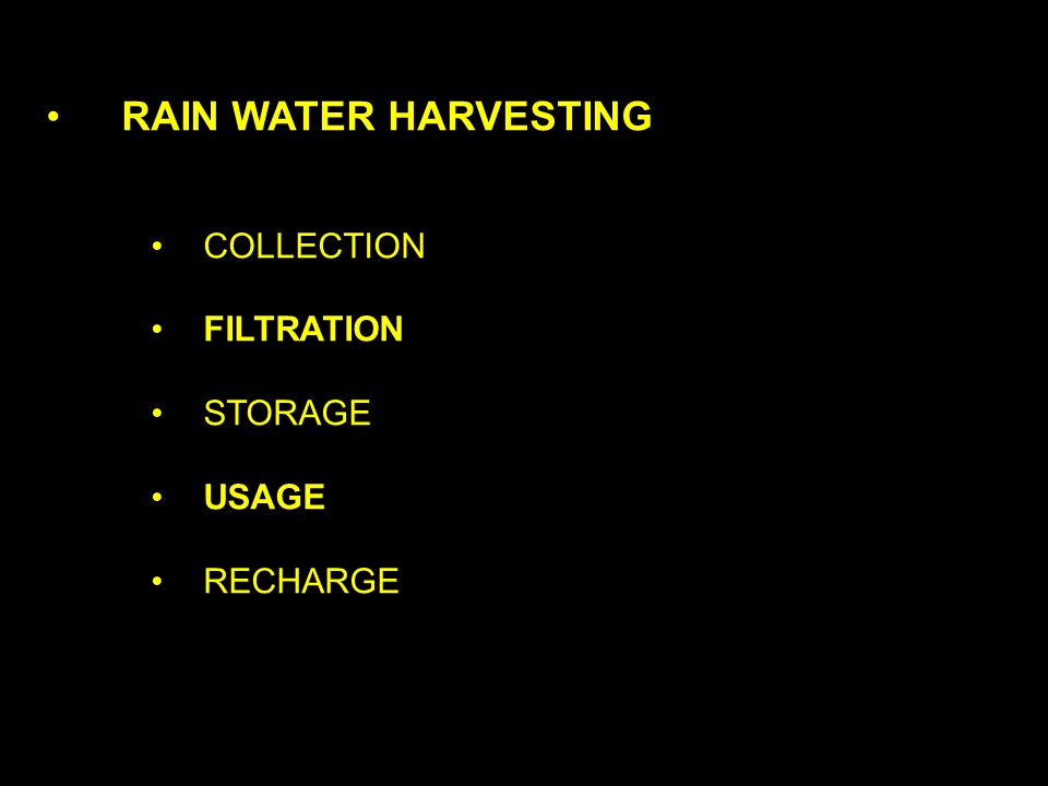 RAIN WATER HARVESTING COLLECTION FILTRATION STORAGE USAGE RECHARGE
