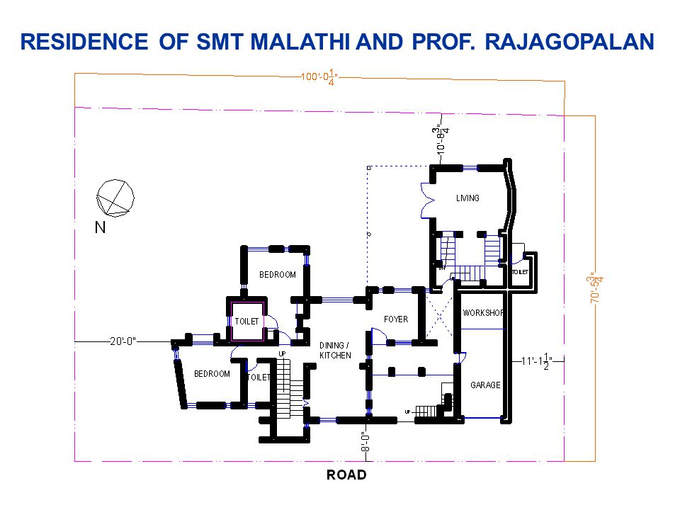 RESIDENCE OF SMT MALATHI AND PROF. RAJAGOPALAN