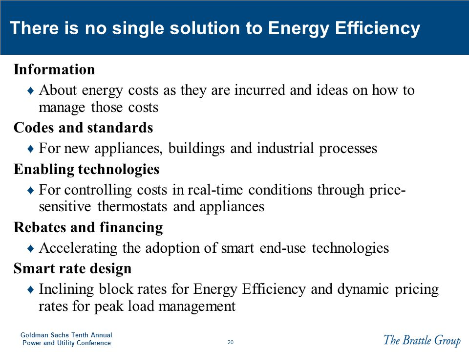 There is no single solution to Energy Efficiency