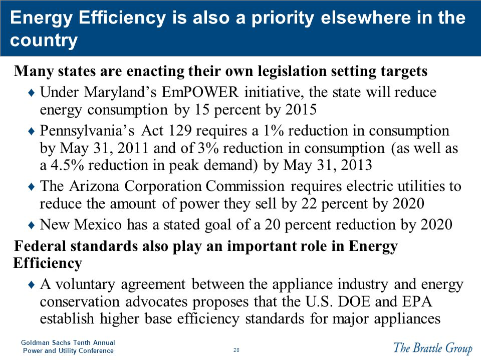 Energy Efficiency is also a priority elsewhere in the country