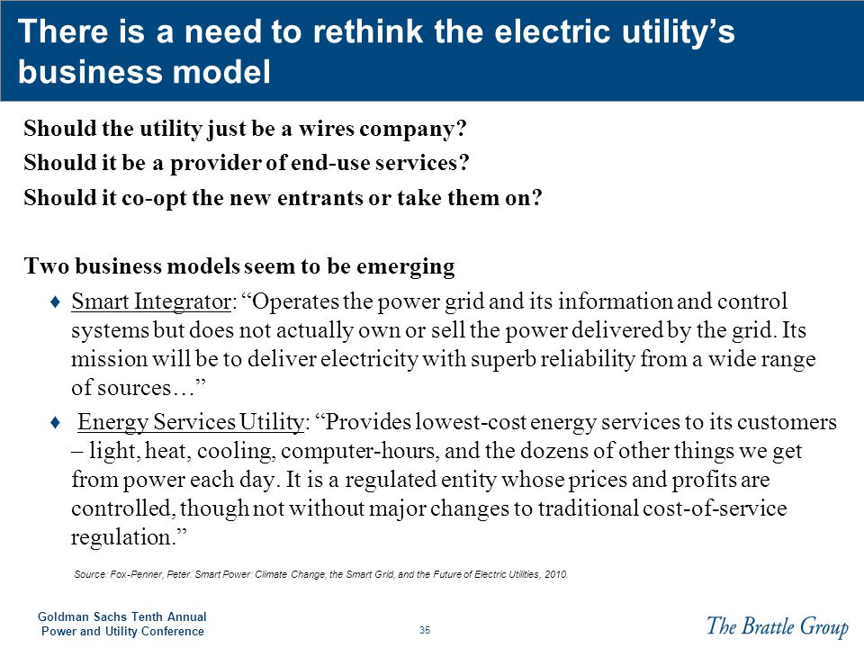 There is a need to rethink the electric utility's business model