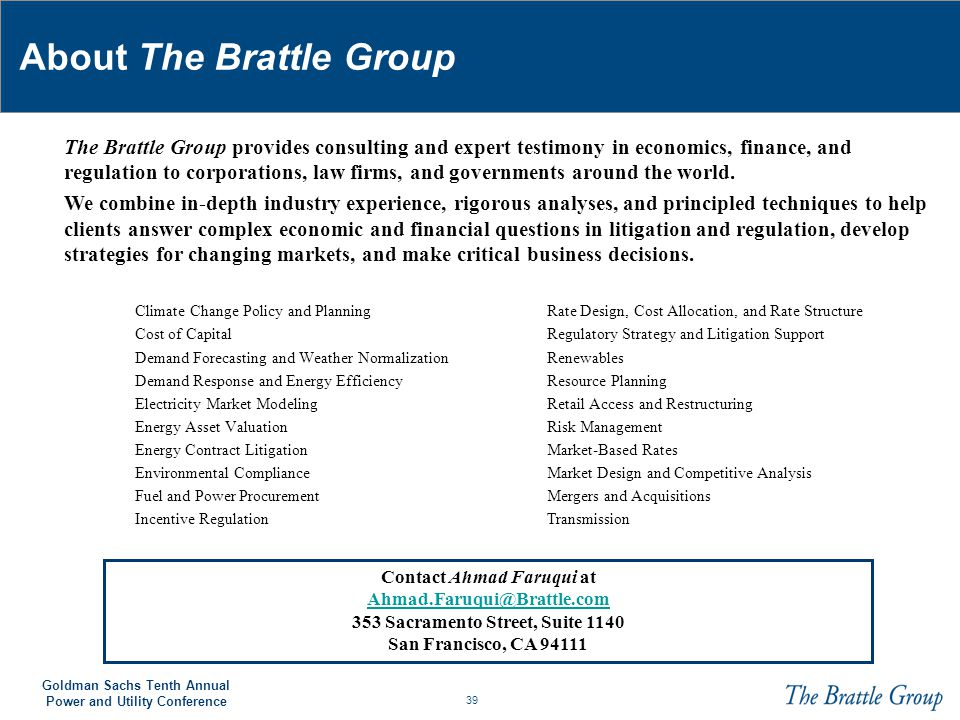 About The Brattle Group
