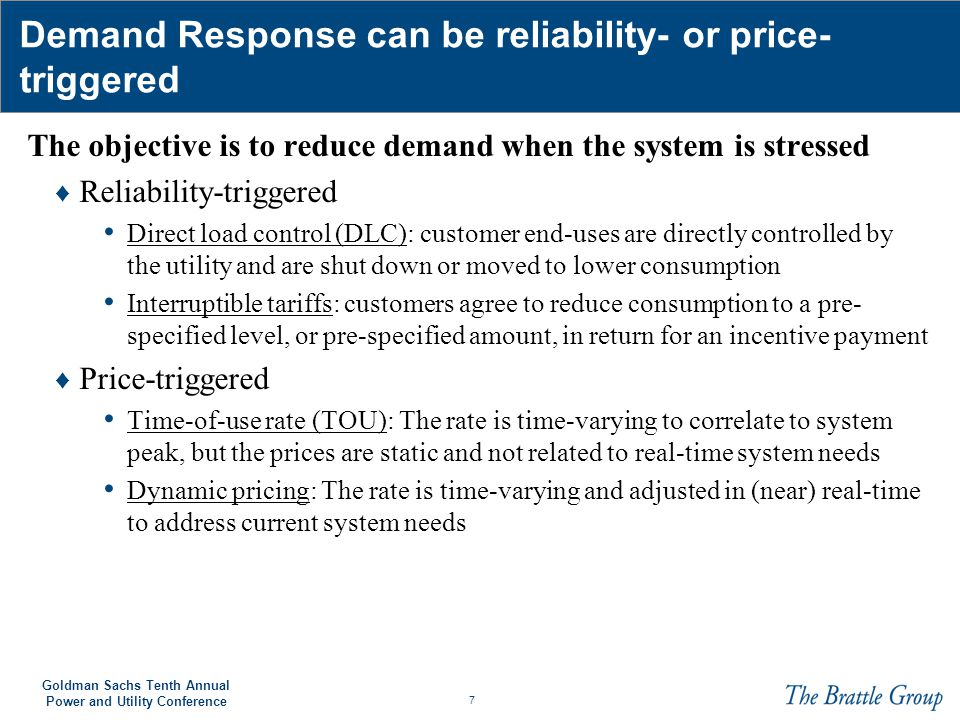 Demand Response can be reliability- or price-triggered