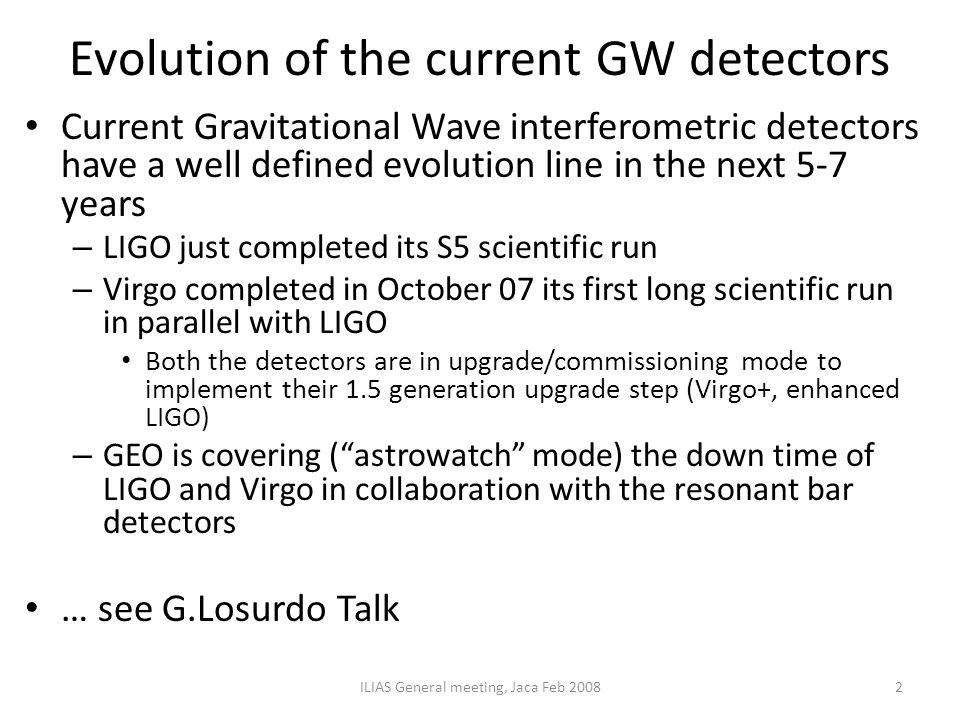 Evolution of the current GW detectors