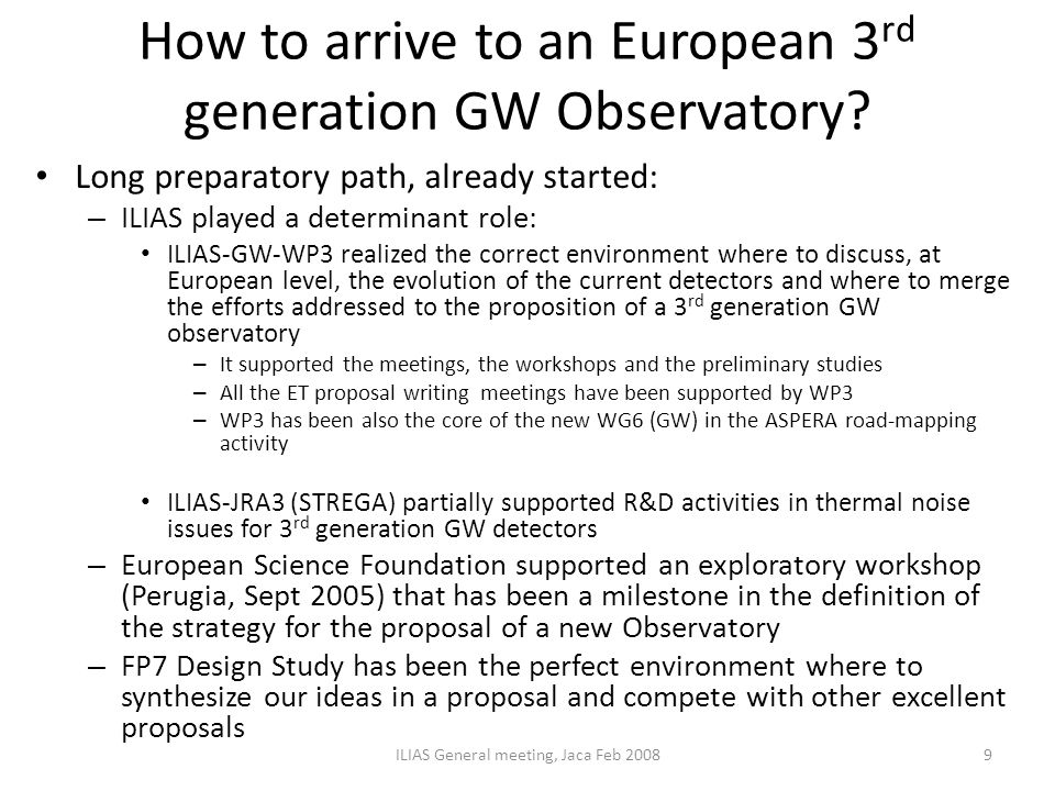 How to arrive to an European 3rd generation GW Observatory