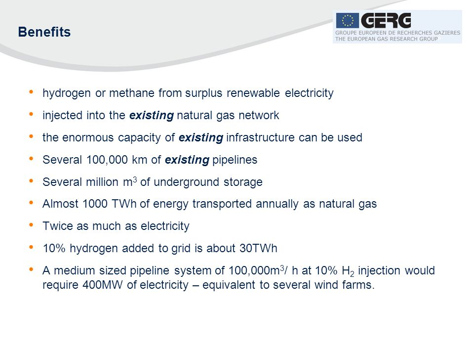 Benefits hydrogen or methane from surplus renewable electricity
