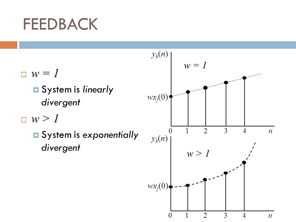 FEEDBACK w = 1 w > 1 System is linearly divergent