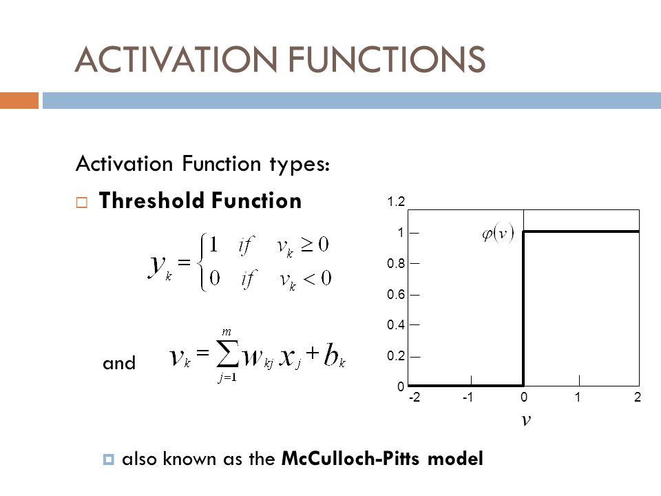 ACTIVATION FUNCTIONS Activation Function types: Threshold Function and