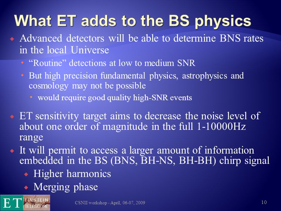 What ET adds to the BS physics