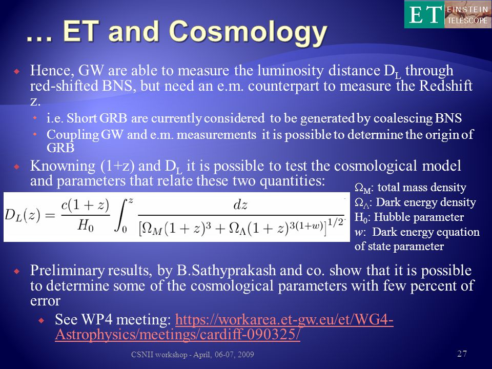 … ET and Cosmology