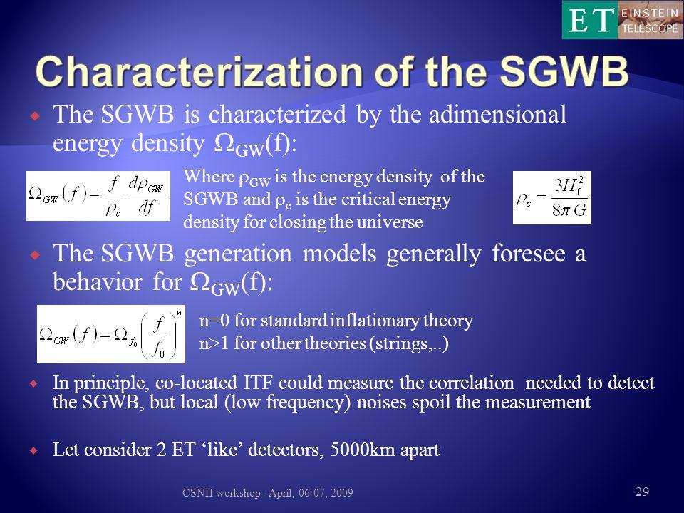 Characterization of the SGWB