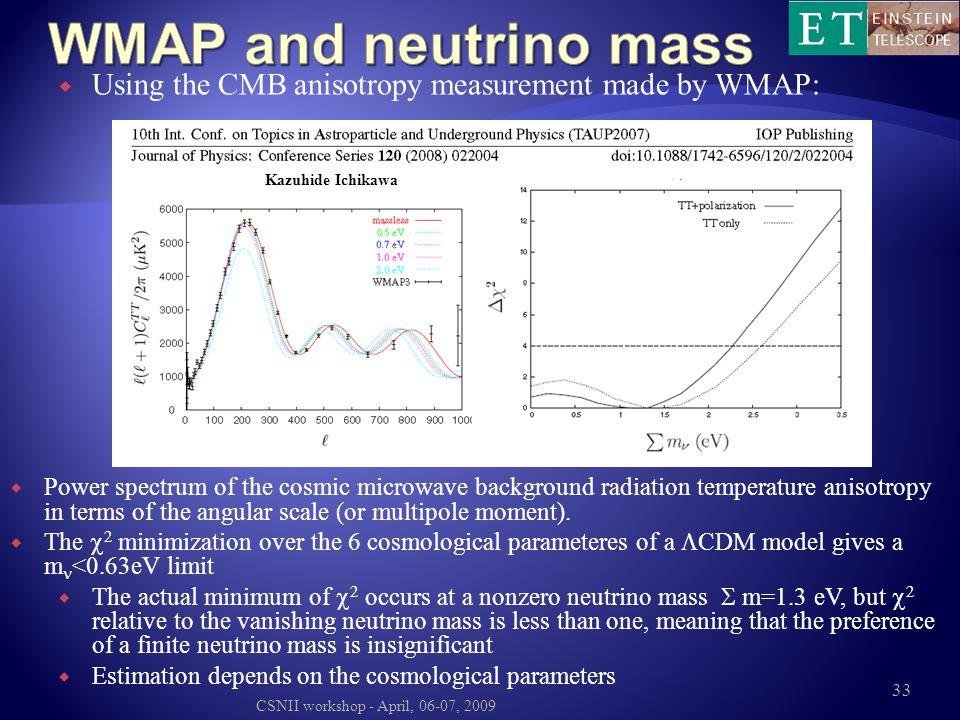WMAP and neutrino mass Using the CMB anisotropy measurement made by WMAP: Kazuhide Ichikawa.