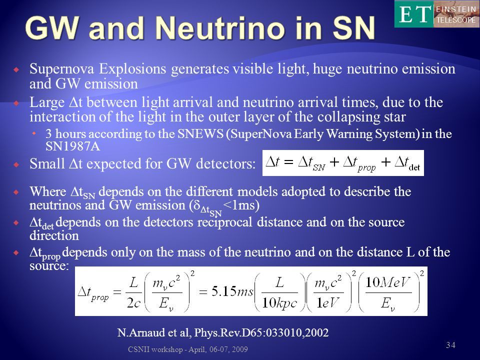 GW and Neutrino in SN Supernova Explosions generates visible light, huge neutrino emission and GW emission.