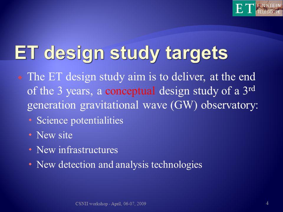 ET design study targets