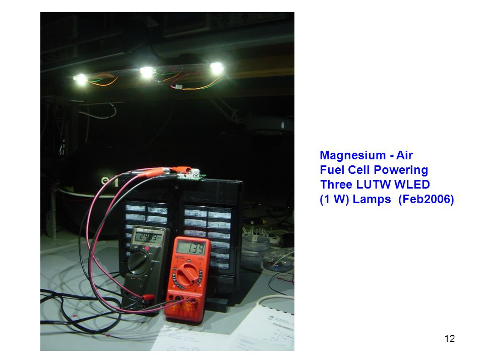 Magnesium - Air Fuel Cell Powering Three LUTW WLED (1 W) Lamps (Feb2006)