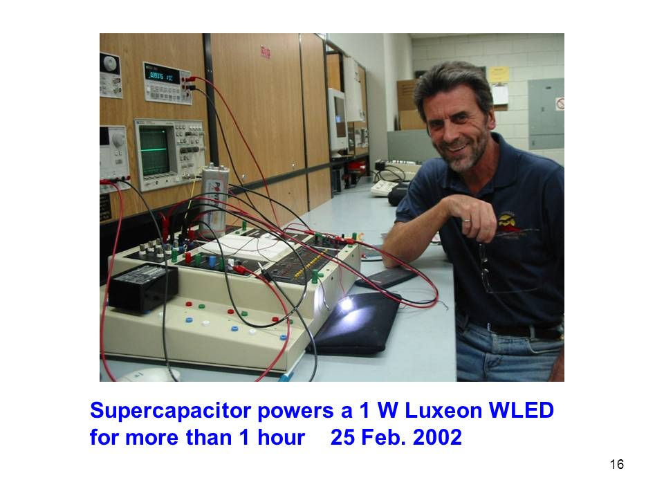 Supercapacitor powers a 1 W Luxeon WLED