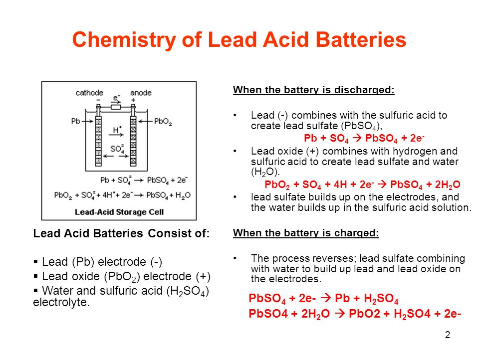 Chemistry of Lead Acid Batteries