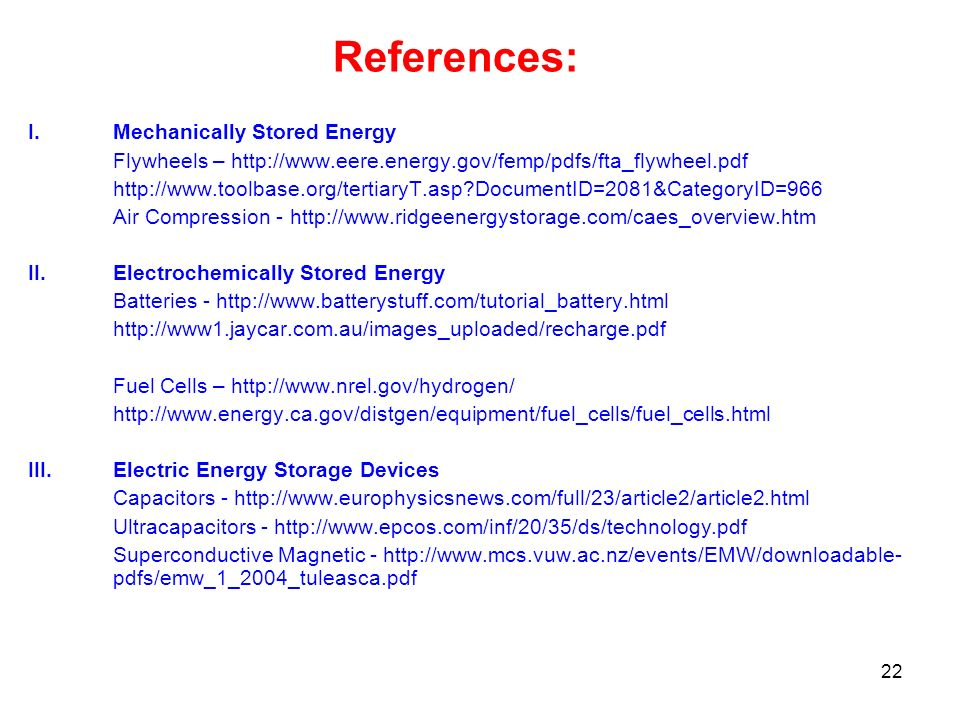 References: Mechanically Stored Energy