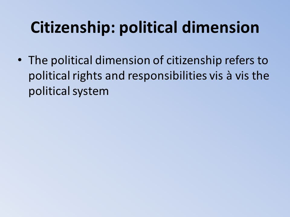 Citizenship: political dimension