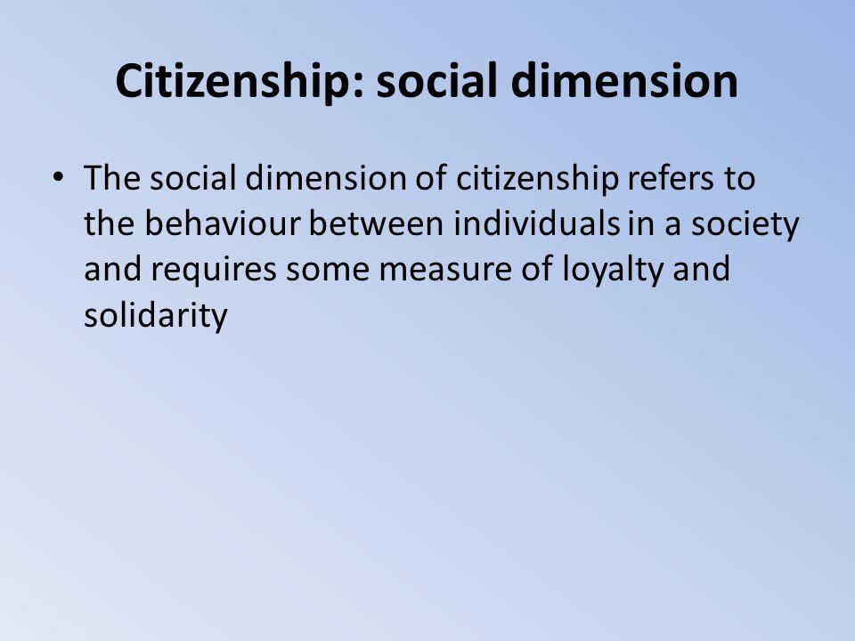 Citizenship: social dimension