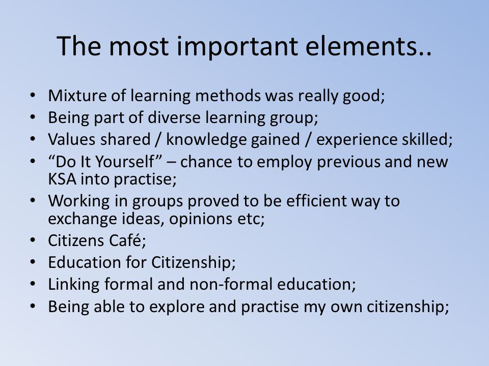 The most important elements..