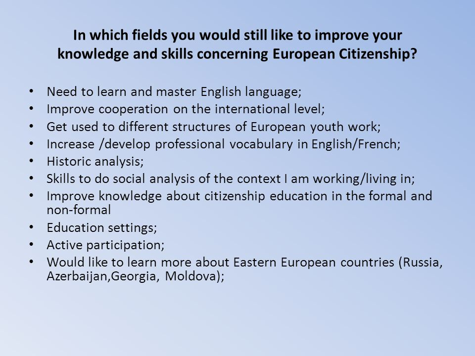 In which fields you would still like to improve your knowledge and skills concerning European Citizenship