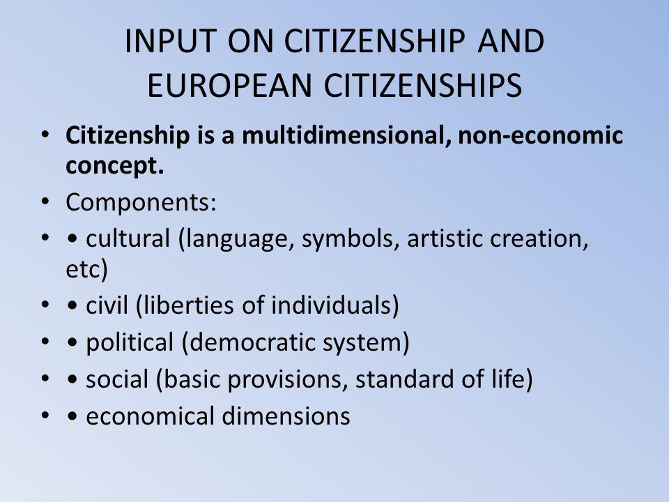 INPUT ON CITIZENSHIP AND EUROPEAN CITIZENSHIPS