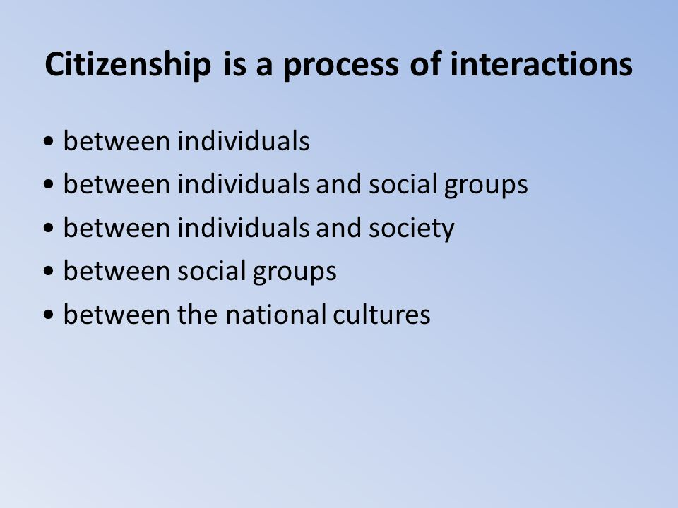 Citizenship is a process of interactions