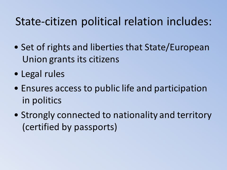 State-citizen political relation includes:
