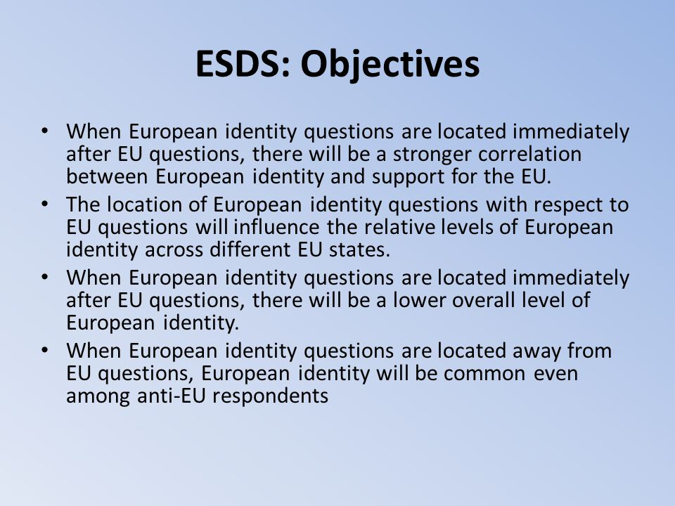 ESDS: Objectives