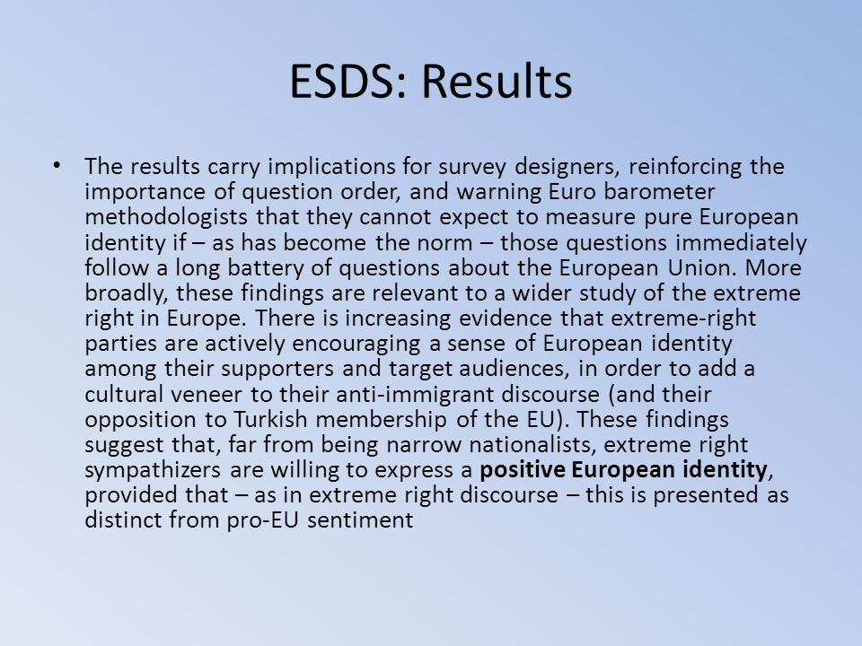 ESDS: Results