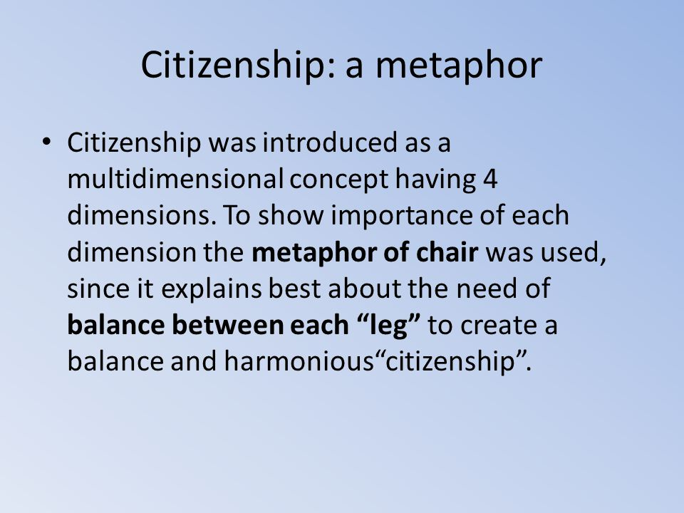 Citizenship: a metaphor