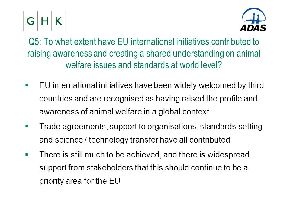Q5: To what extent have EU international initiatives contributed to raising awareness and creating a shared understanding on animal welfare issues and standards at world level