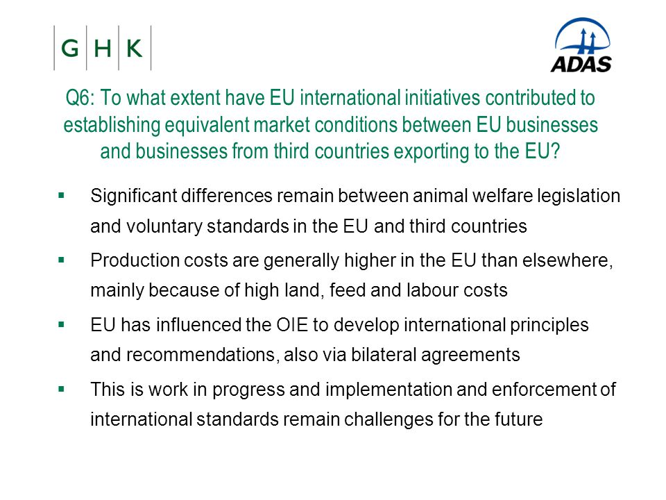 Q6: To what extent have EU international initiatives contributed to establishing equivalent market conditions between EU businesses and businesses from third countries exporting to the EU