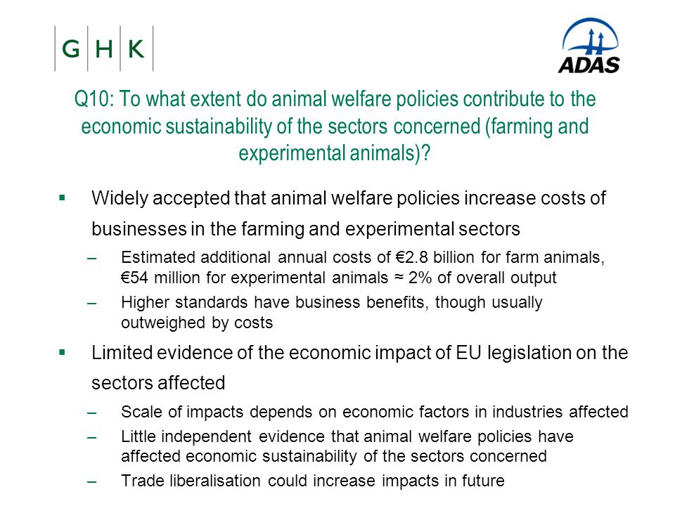 Q10: To what extent do animal welfare policies contribute to the economic sustainability of the sectors concerned (farming and experimental animals)