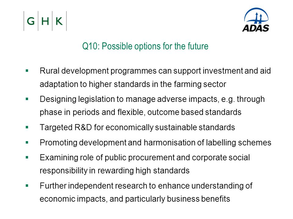 Q10: Possible options for the future