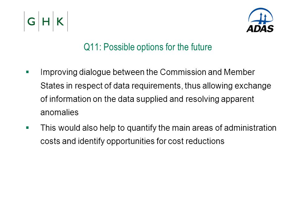 Q11: Possible options for the future