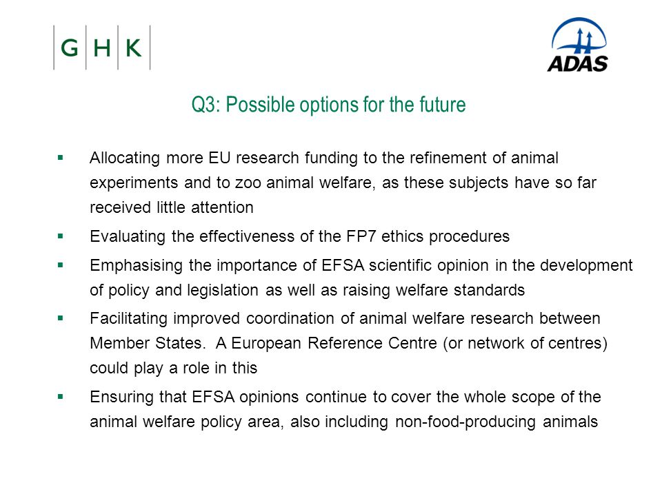 Q3: Possible options for the future