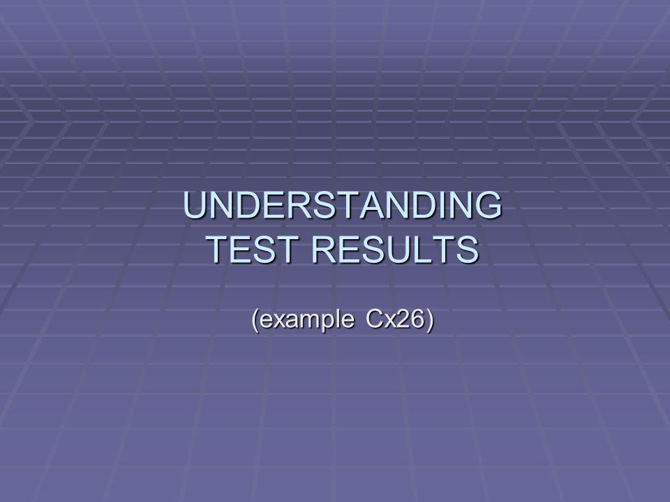 UNDERSTANDING TEST RESULTS (example Cx26)