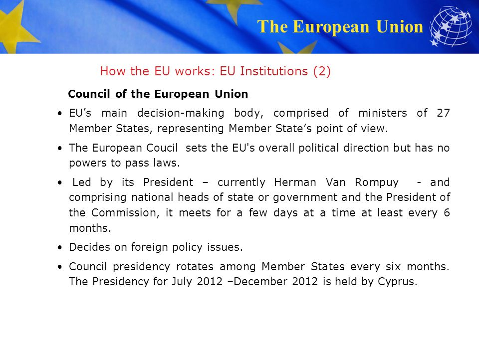 How the EU works: EU Institutions (2)